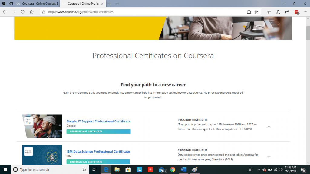 Coursera Professional Certificate