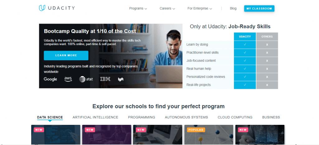Udacity Main Page
