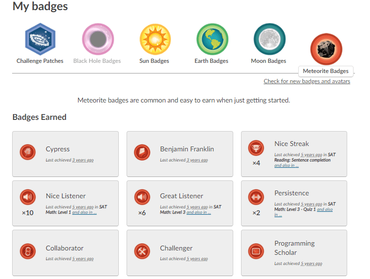 Khan Academy Badges