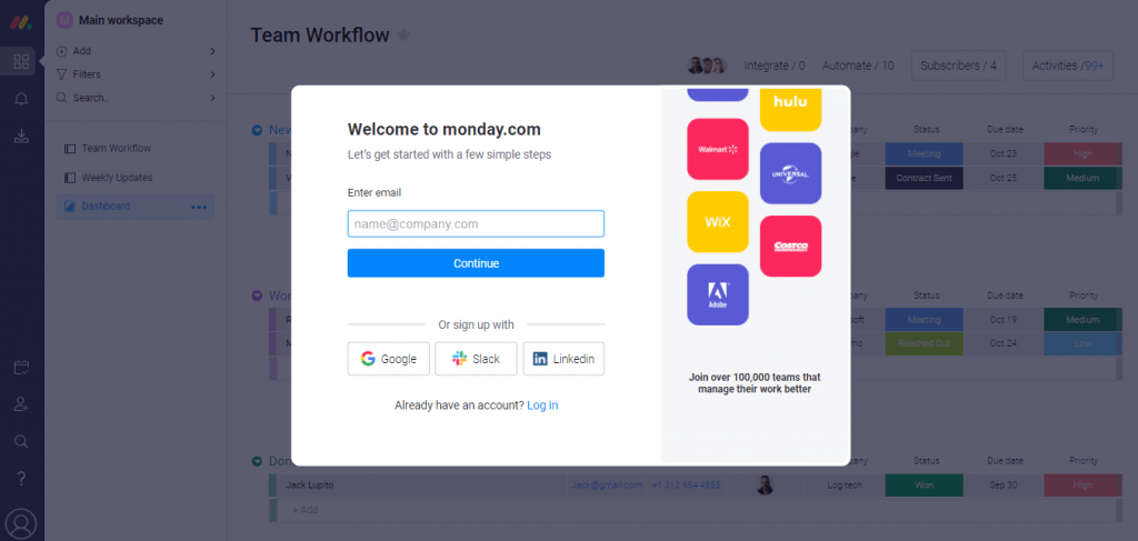 Monday Sign Up