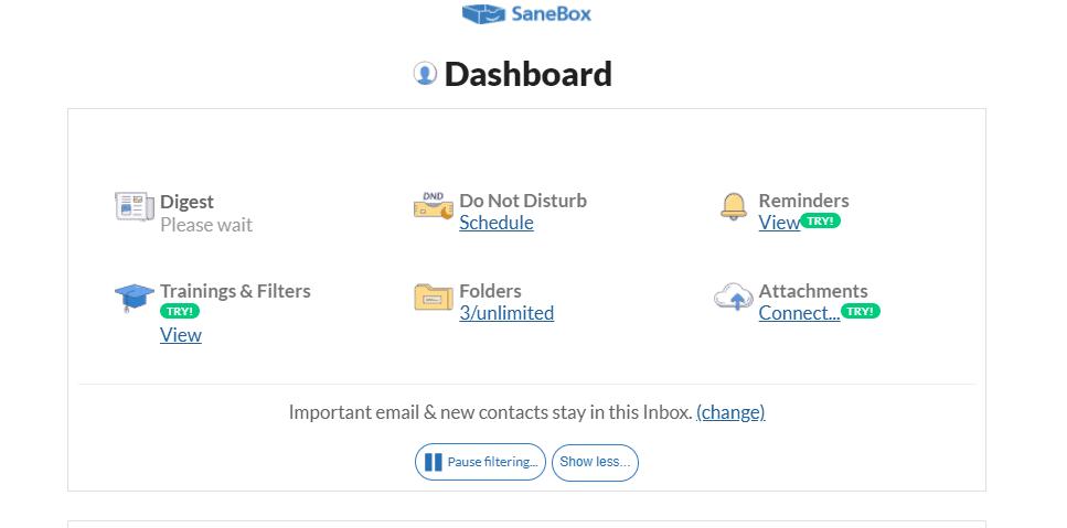 SaneBox Dashboard