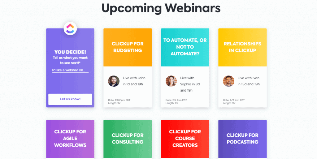 ClickUp Webinars