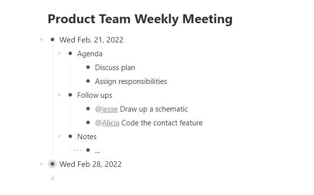 WorkFlowy Meeting Example