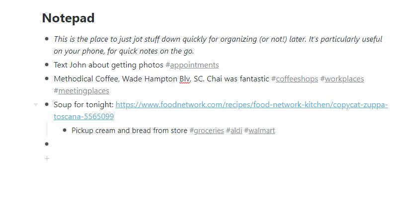 WorkFlowy Notepad