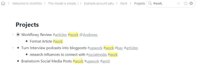 WorkFlowy Tag Search